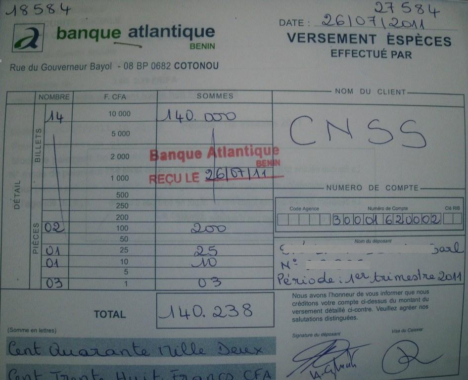 DE COTISATION DE TÉLÉCHARGER CNSS PAIEMENT BORDEREAU