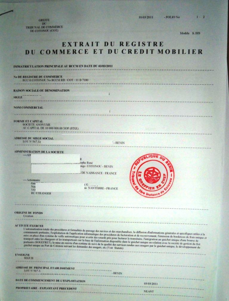 Eregulations b nin - Extrait inscription chambre des metiers ...