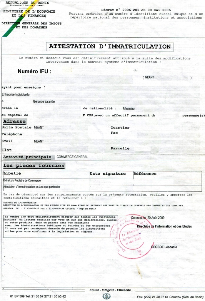 Eregulations b nin - Immatriculation chambre de commerce ...